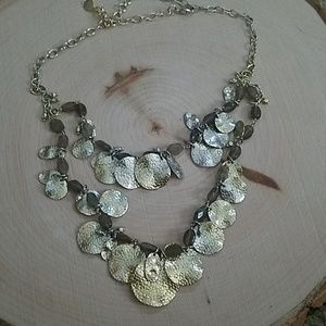 Stella & Dot Silver Gold Tone 2 Tier Necklace